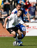 Photo: Steve Bond/Richard Lane Photography. Hereford United v Leicester City. Coca Cola League One. 11/04/2009. Jack Hobbs (back) closes down Marc Pugh (front)