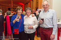 (l to r) Jean Jago, Gillian Buckley, and Derek Jago at the reunion night to celebrate 50 years of the Irish Fireball Class, held at the Royal St George YC.