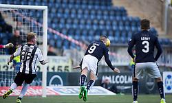 Falkirk's John Baird scoring their second goal. <br /> Half time ; Falkirk 2 0 v St Mirren. Scottish Championship game played 21/10/2015 at The Falkirk Stadium.
