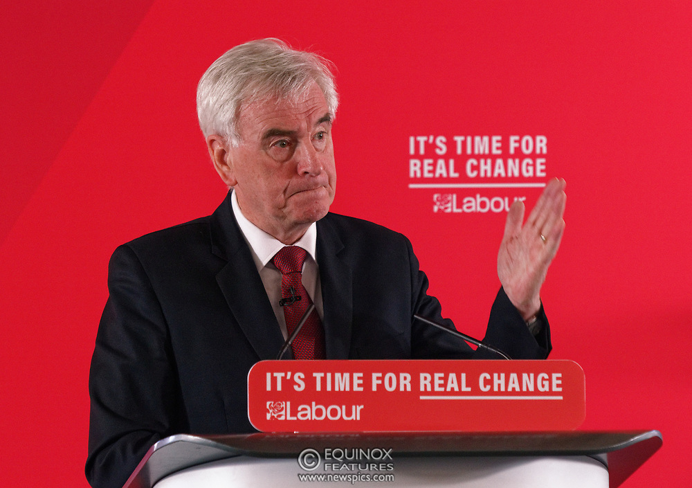 London, United Kingdom - 9 December 2019<br /> John McDonnell gives an economics speech in the run up to the general election 2019, on behalf of the Labour Party at Coin Street Community Builders, London, England, UK.<br /> (photo by: EQUINOXFEATURES.COM)<br /> Picture Data:<br /> Photographer: Equinox Features<br /> Copyright: ©2019 Equinox Licensing Ltd. +443700 780000<br /> Contact: Equinox Features<br /> Date Taken: 20191209<br /> Time Taken: 11471449<br /> www.newspics.com