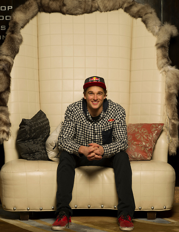 Nick Goepper poses for a portrait at the RedBull Performance Camp in Aspen Colorado, United States on April 14th, 2013