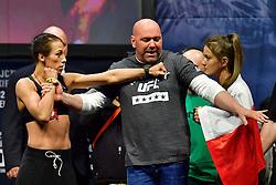 Nov 12, 2016 - New York, New York, U.S. - TJoanna Jedrzejczyk and Karolina Kowalkiewicz during weigh-in at UFC 205 in Madison Square Garden. (Credit Image: ? Jason Silva/ZUMA Wire/ZUMAPRESS.com)