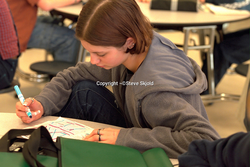 Girl age 14 working on homework in school study hall.  Golden Valley Minnesota USA