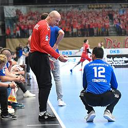 In der Bildmitte Ludwigshafens Skof Gorazd (Nr.16) und rechts Ludwigshafens Martin Tomovski (Nr.12)  beim Spiel in der Handball Bundesliga, Die Eulen Ludwigshafen - SC DHfK Leipzig.<br /> <br /> Foto © PIX-Sportfotos *** Foto ist honorarpflichtig! *** Auf Anfrage in hoeherer Qualitaet/Aufloesung. Belegexemplar erbeten. Veroeffentlichung ausschliesslich fuer journalistisch-publizistische Zwecke. For editorial use only.