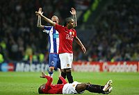 20090415: PORTO, PORTUGAL - FC Porto vs Manchester United: Champions League 2008/2009 – Quarter Finals – 2nd leg. In picture: Evra (injured), Anderson and Raul Meireles . PHOTO: Manuel Azevedo/CITYFILES