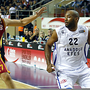 Galatasaray's Cenk Akyol (L) and Anadolu Efes's Alfred Jamon Lucas (R) during their Turkish Basketball Turkey Cup game 1 basketball match Galatasaray between Anadolu Efes at the BESYO Arena in Eskisehir, Turkey, Thursday, February, 2013. Photo by Aykut AKICI/TURKPIX