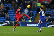 Fode Koita of Blackburn Rovers (l) in action.  Skybet football league championship match, Cardiff city v Blackburn Rovers at the Cardiff city stadium in Cardiff, South Wales on Saturday 2nd Jan 2016.<br /> pic by Andrew Orchard, Andrew Orchard sports photography.