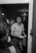 Photo of Bruce Springsteen back stage after U2 concert  at the Hammersmith Palais London 1981