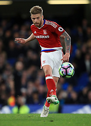 """Middlesbrough's Adam Clayton during the Premier League match at Stamford Bridge, London. PRESS ASSOCIATION Photo. Picture date: Monday May 8, 2017. See PA story SOCCER Chelsea. Photo credit should read: Mike Egerton/PA Wire. RESTRICTIONS: EDITORIAL USE ONLY No use with unauthorised audio, video, data, fixture lists, club/league logos or """"live"""" services. Online in-match use limited to 75 images, no video emulation. No use in betting, games or single club/league/player publications."""