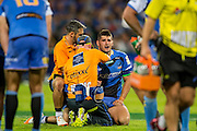 Nathan Charles of the Western Force is assisted with a hand injury during the Canterbury Crusaders v the Western Force Super Rugby Match. Nib Stadium, Perth, Western Australia, 8th April 2016. Copyright Image: Daniel Carson / www.photosport.nz