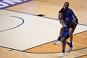 Oral Roberts players celebrate after a college basketball game against Florida in the second round of the NCAA tournament at Indiana Farmers Coliseum, Sunday, March 21, 2021 in Indianapolis. Oral Roberts won 81-78.