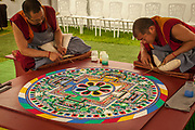 Buddhist monks create Chenrezig sand mandala for world peace and compassion, Dean's bush garden, Christchurch