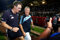 Laurent Blanc has left his job as manager of the French national team after his contract came to an end. The 46-year-old, who has been linked with the vacant Tottenham post, took over from Raymond Domenech in 2010. Like his predecessor, Blanc endured infighting between players which he admitted had been a distraction before their Euro 2012 quarter-final defeat against Spain. Marseille boss Didier Deschamps is the early favourite to replace Blanc. File photo : Bordeaux's coach Laurent Blanc (L) has word with new Marseille's coach Didier Deschamps during the friendly soccer match, Bordeaux vs Marseille at the stadium in Dax, France on July 21, 2009. Bordeaux won 2-1. Photo by Patrick Bernard/ABACAPRESS.COM