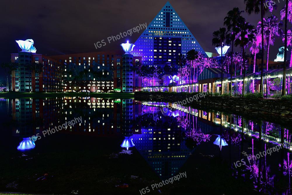 Late Night Reflections of the Dolphin Hotel at Disney World, Lake Buena Vista Florida