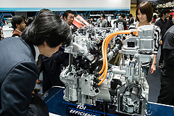 Hybrid diesel electric engine by Volkswagen on display at  Tokyo Motor Show 2013 in Japan