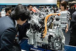 Hybrid diesel electric engine by Volkswagen on display at  Tokyo Motor Show 2013 in Japan