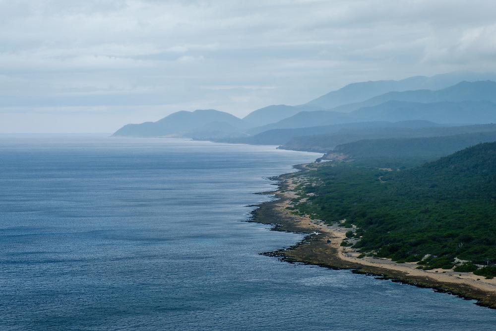 SANTIAGO DE CUBA, CUBA - CIRCA JANUARY 2020: Ocean and mountains around Santiago de Cuba