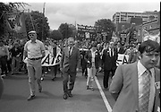 H-Block Protest To British Embassy.  (N86)..1981..18.07.1981..07.18.1981..18th July 1981..A protest march to demonstrate against the H-Blocks in Northern Ireland was held today in Dublin. After the death of several hunger strikers in the H-Blocks feelings were running very high. The protest march was to proceed to the British Embassy in Ballsbridge...Image shows banners commemorating the hunger strikers who starved to death in the H-Blocks in Northern Ireland. Bobby Sands,Francis Hughes and Martin Hurson