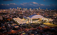 The new Marlins Stadium at sunset on Wednesday, March 14, 2012.