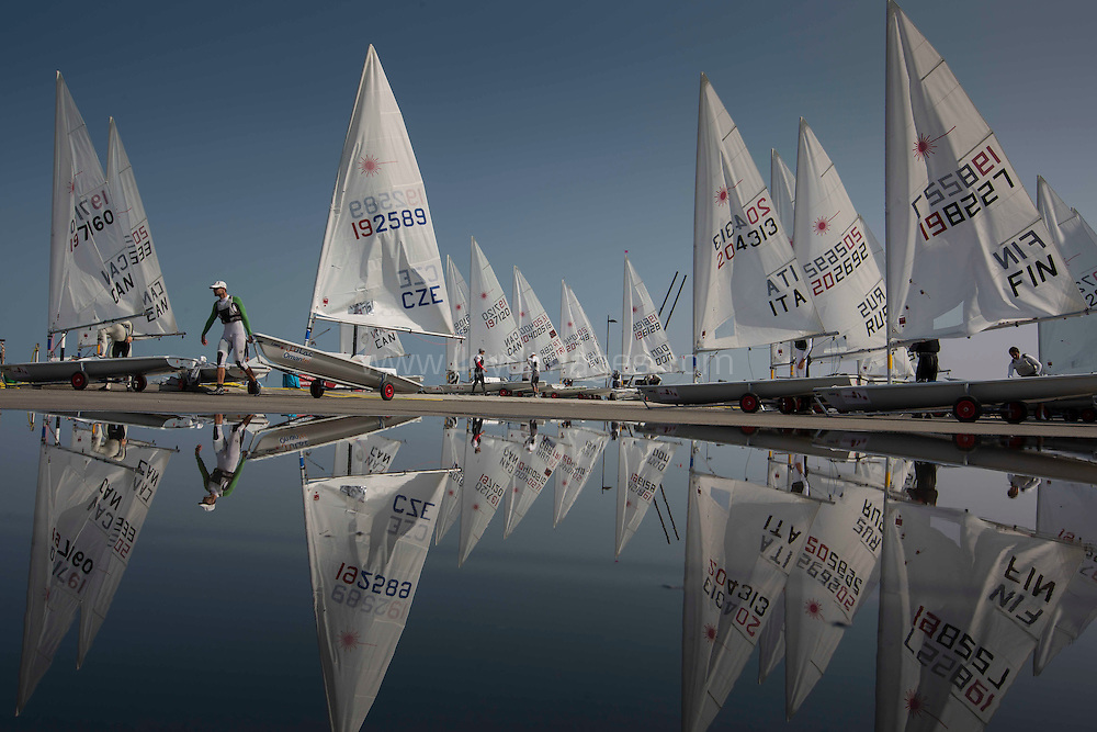 Laser World Championships 2013. Mussanah. Oman. Day 2 of racing, Credit: Lloyd Images