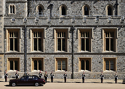 Queen Elizabeth II and Lady Susan Hussey drive through the Quadrangle ahead of the funeral of the Duke of Edinburgh in Windsor Castle, Berkshire. Picture date: Saturday April 17, 2021.