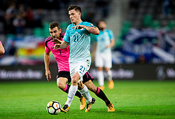 James McArthur of Scotland vs Benjamin Verbic of Slovenia during football match between National Teams of Slovenia and Scotland of Fifa 2018 World Cup European qualifiers, on October 8, 2017 in SRC Stozice, Ljubljana, Slovenia. Photo by Vid Ponikvar / Sportida