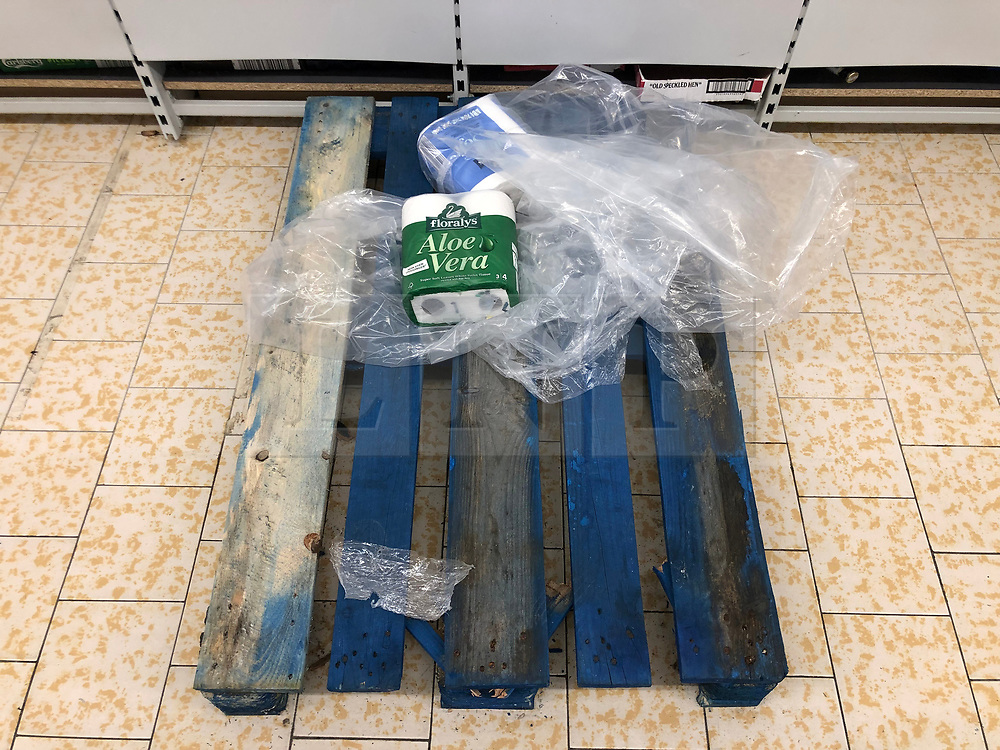 © Licensed to London News Pictures. 13/03/2020. Leeds UK. LIDL LEEDS. Empty Toilet Roll shelves at Lidl in the Halton area of Leeds this morning as people continue to panic buy in fear of quarantine measures and shortages as the current Coronavirus ( COVID-19 ) spread starts to impact more people. Photo credit: Andrew McCaren/LNP