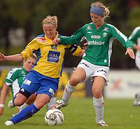 Fotball Toppserien, Trondheims-Ørn - Klepp 0-0,<br /> Marie Bakke, Klepp mot Unni Lehn, Ørn<br /> Foto: Carl-Erik Eriksson, Digitalsport
