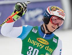 04.03.2017, Podkoren, Kranjska Gora, SLO, FIS Weltcup Ski Alpin, Kranjska Gora, Riesenslalom, Herren, 2. Lauf, im Bild Loic Meillard (SUI) // Loic Meillard of Switzerland reacts after his 2nd run of men's Giant Slalom of FIS ski alpine world cup at the Podkoren in Kranjska Gora, Slovenia on 2017/03/04. EXPA Pictures © 2017, PhotoCredit: EXPA/ Johann Groder