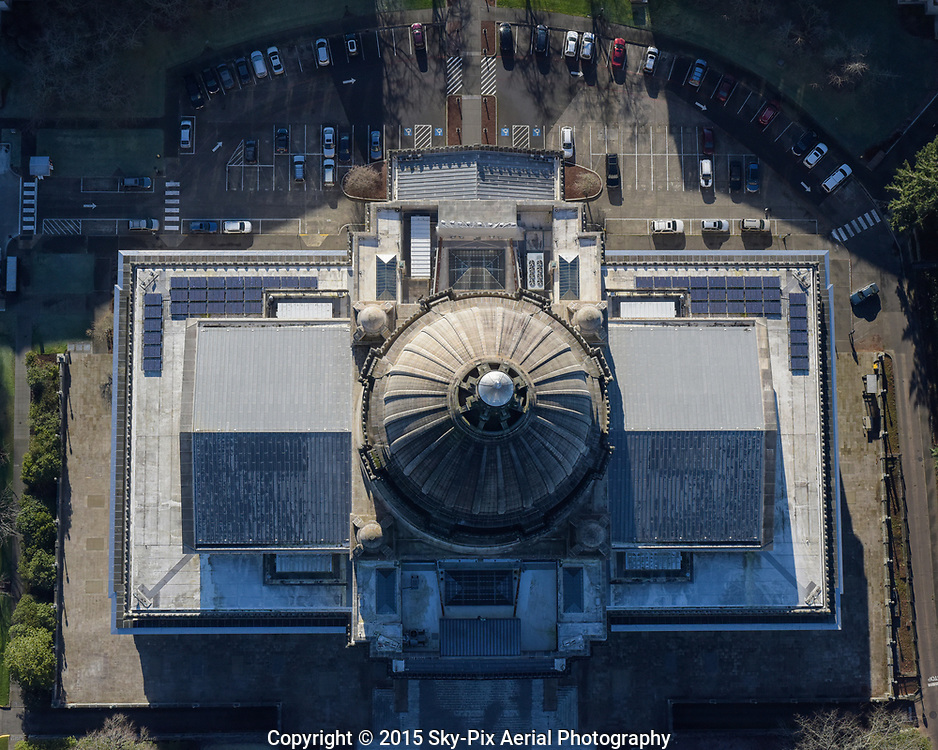 Vertical aerial photo looking down on the Capitol Dome of the Legislative Building in Olympia, Washington.
