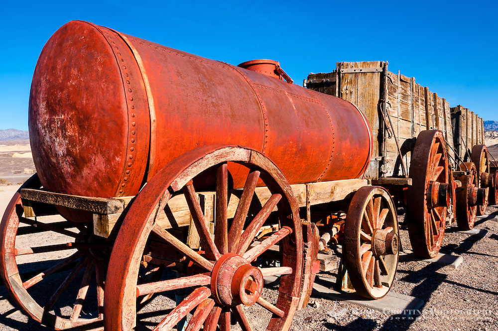 United States, California, Death Valley. The Harmony Borax Works are located in Death Valley at Furnace Creek Springs. An old wagon.