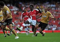 Photo: Tony Oudot/Richard Lane Photography. Arsenal v Juventus. Emirates Cup. 02/08/2008. <br /> Emmanuel Adebayor of Arsenal beats Giorgio Chiellini of Juventus to the ball
