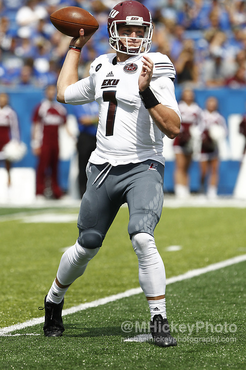 LEXINGTON, KY - SEPTEMBER 09: Tim Boyle #7 of the Eastern Kentucky Colonels drops back to pass during the game against the Kentucky Wildcats at Kroger Field on September 9, 2017 in Lexington, Kentucky. (Photo by Michael Hickey/Getty Images) *** Local Caption *** Tim Boyle