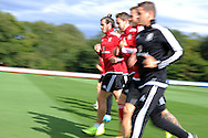 Gareth Bale of Wales (c) during the Wales football team training session at the Vale Resort, Hensol Castle near Cardiff ,South Wales on Monday 31st August  2015. The team are preparing for their next EURO 2016 qualifying match away to Cyprus later this week.<br /> pic by Andrew Orchard, Andrew Orchard sports photography.