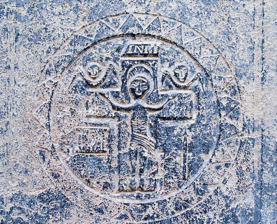 Medieval stone carving at Teampall Chaomhan a 10-14th century church ruins on Inis Oirr the Aran Islands Galway Ireland