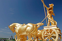 Golden Horse Statues atop of Capitol Building with Cathedral of St. Paul in the Background, Saint Paul, Minnesota