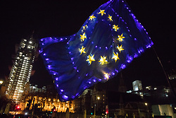 London, UK. 29 January, 2020. A pro-EU activist from SODEM (Stand of Defiance European Movement) waves a European Union flag studded with fairy lights during a protest outside Parliament at the end of the day on which MEPs formally approved the Brexit Withdrawal Agreement.