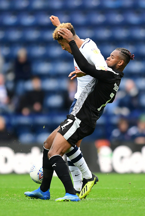 Preston North End's Callum Robinson vies for possession with Reading's Leandro Bacuna<br /> <br /> Photographer Chris Vaughan/CameraSport<br /> <br /> The EFL Sky Bet Championship - Preston North End v Reading - Saturday 15th September 2018 - Deepdale - Preston<br /> <br /> World Copyright © 2018 CameraSport. All rights reserved. 43 Linden Ave. Countesthorpe. Leicester. England. LE8 5PG - Tel: +44 (0) 116 277 4147 - admin@camerasport.com - www.camerasport.com