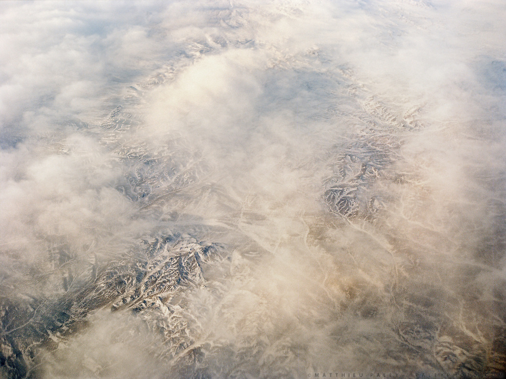 Flying in winter over the Gobi region.