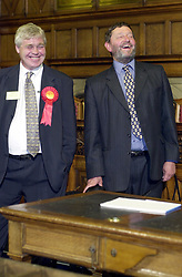 The now Home secretary David Blunket MP and one of his supporters enjoy the results of the 2001 a general election night 2001 at the sheffield Town Hall.