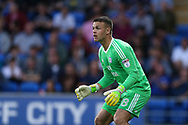 Brian Murphy, the Cardiff city goalkeeper looks on. Carabao Cup 2nd round match, Cardiff city v Burton Albion at the Cardiff City Stadium in Cardiff, South Wales on Tuesday 22nd August  2017.<br /> pic by Andrew Orchard, Andrew Orchard sports photography.