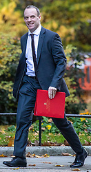 © Licensed to London News Pictures. 13/11/2018. London, UK. Secretary of State for Exiting the European Union Dominic Raab arrives on Downing Street for the Cabinet meeting. Photo credit: Rob Pinney/LNP