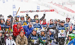 21.01.2012, Hahnenkamm, Kitzbuehel, AUT, FIS Weltcup Ski Alpin, 72. Hahnenkammrennen, Charity race, im Bild Gruppenbild Siegerehrung // during Charity race of 72th Hahnenkammrace of FIS Ski Alpine World Cup at 'Charity' course in Kitzbuhel, Austria on 2012/01/21. EXPA Pictures © 2012, PhotoCredit: EXPA/ Markus Casna