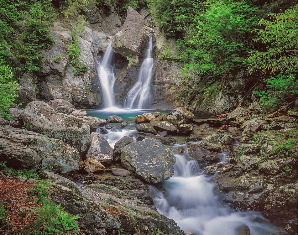 Bash Bish Falls cascades over rocks in spring, multiple waterfalls, Mt Washington, MA