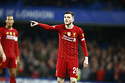 Liverpool's Andrew Robertson in action during the English FA Cup fifth round soccer match between Chelsea and Liverpool at Stanford Bridge Stadium, Wednesday, March 3, 2020, in London, United Kingdom. (ESPA-Images/Image of Sport)