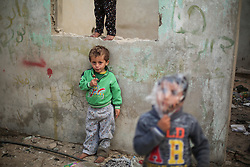 February 6, 2018 - Gaza City, The Gaza Strip, Palestine - Palestinian children play at their family's house in Al-Shati refugee camp in Gaza City. (Credit Image: © Hassan Jedi/Quds Net News via ZUMA Wire)