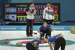 February 25, 2018 - Gangneung, GANGWON, SOUTH KOREA - Feb 25, 2018-Gangneung, South Korea-South Korea Olympic Curling Team and Sweden Olympic Curling Team Players action on the ice during an Olympic Couling Women's Gold Medal Game at Curling Center in Gangneung, South Korea. Match Won Sweden. Score by 8-3. (Credit Image: © Gmc via ZUMA Wire)