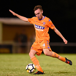 BRISBANE, AUSTRALIA - JANUARY 27: Liam Cosgrove of Lions kicks the ball during the Kappa Silver Boot Grand Final match between Lions FC and Brisbane Strikers on January 27, 2018 in Brisbane, Australia. (Photo by Patrick Kearney)