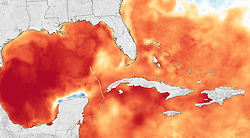 October 8, 2018 - Gulf of Mexico - Sea surface temperature. The MODIS instrument aboard NASA's Aqua satellite captured a visible image of Hurricane Michael when it was a Category 1 hurricane near the western tip of Cuba.  (Credit Image: © NASA Earth/ZUMA Wire/ZUMAPRESS.com)