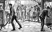 Dockers unloading tea in London Docks, 1889. Engraving.